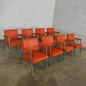 MCM Steelcase Coral Vinyl Fabric & Brushed Steel Dining Armchairs Set of 8