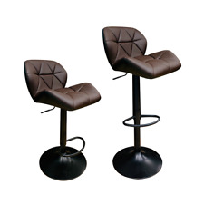 Deluxe Dark Brown Set of 2 Bar Stools with Footrest and Enlarged Metal Base