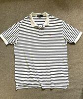 Polo Ralph Lauren Striped White/Blue Polo Top Shirt | Big and Tall | 2XL