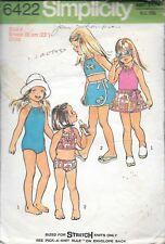 Complete sewing pattern Simplicity 6422 girls 4 bathing suit wrap skirt bikini