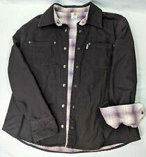 Carhartt Coat Shirt Long Sleeve Brown Womens XL Purple Plaid Lined Snap Front