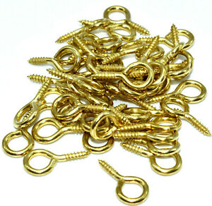 100, SCREW EYES BRASS PLATED 14mm x 1 PICTURE FRAMING FRAME HANGING HOOKS CRAFT