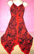 Para Mujer con Tiras Negro y Rojo Floral Print Wrap Redondo Trapo Dobladillo Vestido-Talla