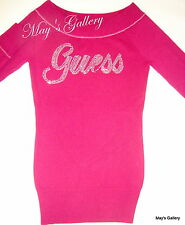 Guess Jeans Sweater T shirt  sweat  Top Blouse Pullover Rhinestones Plum NWT M