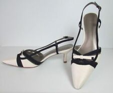 Jacques Vert Strippy Shoes Ivory & Dark Purple  ~ Bow Trim ~Size 5/38 BNWB   JR