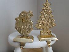 Brass Christmas Tree and Santa Stocking Holder Hangers Set of 2
