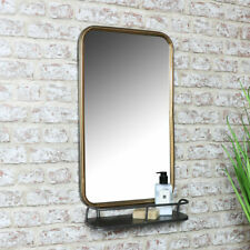 Antique bronze wall mirror shelf display storage industrial bathroom living room