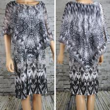 WORLD UNITY Dress Sleeveless w/shawl Geometric black/white embellished Boho XL