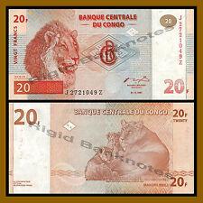 Congo D.R (Democratic Republic) 20 Francs, 1997 P-88 Replacement (Z) Lion Unc