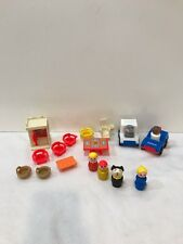 #8 Vintage Fisher Price Little People Mail Truck Police Phone Booth Chairs Dog