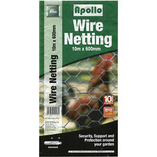 Apollo Galvanised Wire Garden Netting/Fencing - 10m x 600mm - 25mm Weave (17420)