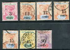 SEYCHELLES-1893 A fine used Surcharge set Sg 15-21