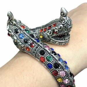 Silver Naga Bracelet Lp Noppakao Gemstone Free Size Chant Thai Wat Kham Chanot