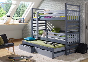 HIPOLIT - TRIPLE BUNK BED WITH 2 DRAWERS & MATTRESSES, UK SIZE, VARIOUS COLOURS