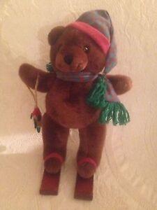 Very Rare Applause 1993 Little Juniper Teddy Bear Skier W/ Fish Plush Stuffed