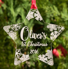 My Very First 1st Xmas Baby's Personalised Bauble Christmas Tree Ornaments Stars