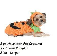 Pet LED Light UP Halloween Pet Costume Led Plush Pumpkin  Size - Large  - 2 pc