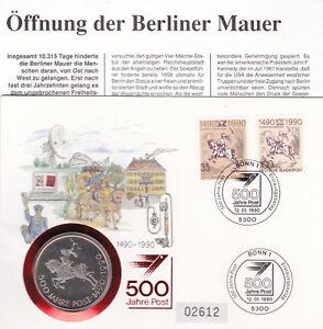 """Brd 1445 FDC mit Münze """"500 Jahre Post"""" 12.1.1990"""