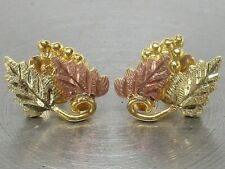 SOLID 10K BLACK HILLS GOLD Etched Grape Cluster Artisan Stud Earrings ~ .9 GRAMS