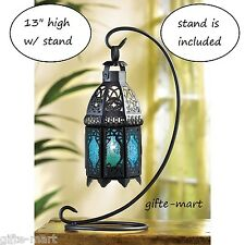 """Moroccan 8"""" tall BLUE Candle holder Lantern Lamp light outdoor terrace patio"""
