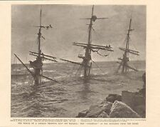 1901 ANTIQUE PRINT - WRECK OF A GERMAN TRAINING SHIP OFF MALAGA
