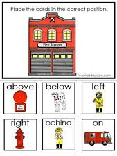 Laminated Fire Fighter Positional Learning game. Prepositions.  Preschool Kinder