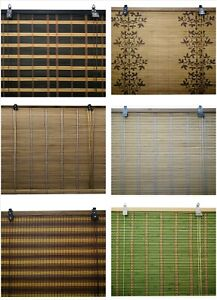 7 Colores 14 Medidas de Estor Enrollable Bambú, Persiana Plegable Madera o Bambu