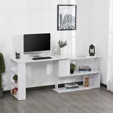 360° Rotating Corner Desk L-Shaped Table Workstation Storage Shelf White