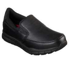 SKECHERS 77236W/BLK NAMPA-ANNOD Wmn's (W) Black Leather Work Shoes