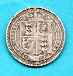 1890 STERLING SILVER SHILLING COIN OF QUEEN VICTORIA. JUBILEE HEAD. WELL USED.