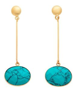 Brand New Gorgeous 18K Gold Plated Top With Faceted Turquoise Dangling Earrings