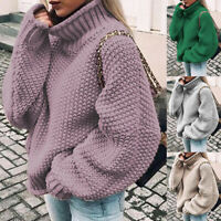 BG_ Women Winter Turtleneck Baggy Knitted Oversized Sweater Jumper Pullover Top
