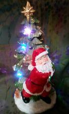 Gorgeous Resin Christmas Tree Glitter Blinking Light Figurine with Santa NWT