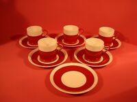 WEDGWOOD ULANDER/WHITEHALL UNFINISHED RUBY,  FIVE COFFEE CUPS AND SIX SAUCERS
