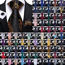 Mens Silk Tie Paisley Floral Striped Plaids Necktie Pocket Square Cufflinks Set