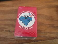 """VINTAGE PLAYING CARDS POLITICAL""""EVERYONE FOR ELEPHANTS"""" REPUBLICANS RED NIP"""