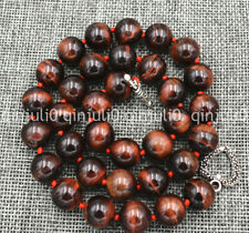 "Genuine 12mm Red tiger's eye round beads necklace 18"" Tibetan silver love clasp"
