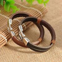 Men Black Brown Surfer Vintage Retro Hemp Wrap Leather Wristband Bracelet Gift