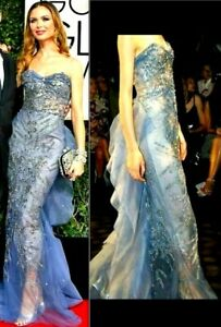 MARCHESA Tulle Embellished Blue Long Dress Evening Runway Gown IT 40 42 / US 4 6