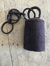 Antique Vintage Metal Cow Bell Rustic Primitive Riveted, Rusty Delicious W/chain
