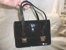 ancien sac à main simili cuir vernis noir fabriqué en France vintage année 60 70