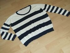 Fab cream and navy cotton jumper. Size 16. Excellent condition