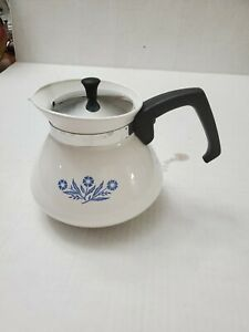 Vintage Corning Ware Cornflower Blue 6 Cup Coffee Stove Top Tea Pot P-104