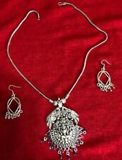 Bollywood Temple silver south india necklace earring peacock pendant set