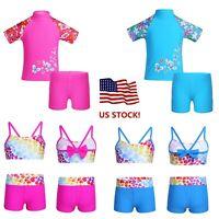 US Girls Kids Swimsuit Swimwear UV Protection Rash Guard Bathing Suit Costume