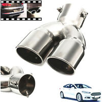 "Lightweight 76mm 3""Silver Chrome Car SUV Dual Exhaust Trim Pipe Muffler Tail Tip"