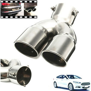 "Lightweight 76mm 3""Silver Chrome Car SUV Dual Exhaust Trim Pipe Muffler Tail Tip"