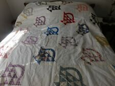 """Hand Stitched Quilt Top, Felt Batting And Backing. 90"""" X 72"""""""