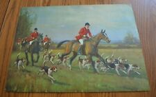 Vintage 1930's English Fox & Hounds Hunting Scene Print 16 x12 George Russel