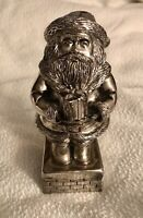 NEW SILVER PLATE MUSICAL SANTA CLAUS IS COMING TO TOWN MUSIC BOX ON CHIMNEY